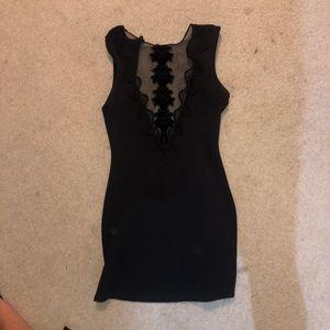 black detailed lace dress